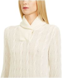 Ralph Lauren Black Label Cabled Cashmere Shawl Sweater - Lyst