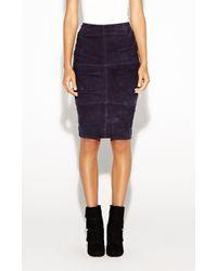 Nicole Miller Pre-order Suede Tuck Skirt - Lyst