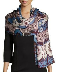 Valentino Blossom Patch Silk Stole - Lyst