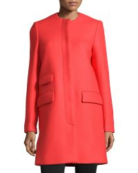 Stella McCartney Crewneck Wool-Blend Coat - Lyst
