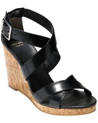 Cole Haan Jillian Leather Wedge Sandals - Lyst