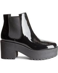 H&M Patent Platform Boots - Lyst