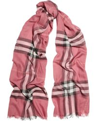 Burberry Checked Wool and Silkblend Scarf - Lyst