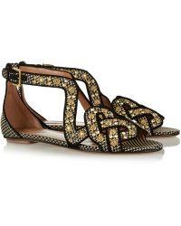 Alaïa Studded Faux Raffia Sandals - Lyst