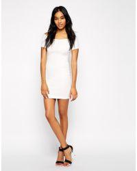 AX Paris Off Shoulder Dress In Texture Fabric - Lyst