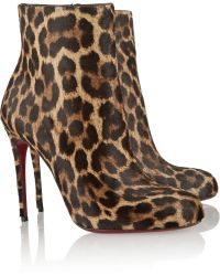 Christian Louboutin Fifi 100 Leopardprint Calf Hair Ankle Boots - Lyst