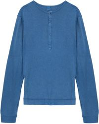 120 Percent Linen Blue Henley Top - Lyst