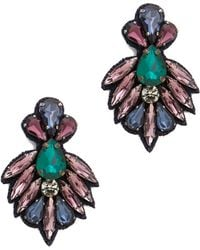 Deepa Gurnani Crystal and Stone Earrings Bluelavender - Lyst