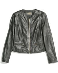 Mango Zip Leather Jacket - Lyst