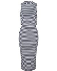 Topshop Striped Cut-Out Midi Dress - Lyst