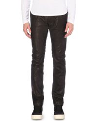 Rick Owens Leather Slim-Ft Trousers - For Men - Lyst