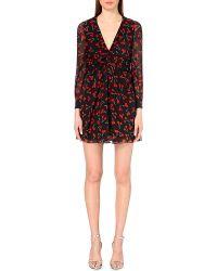 Saint Laurent Cherry-Print Silk Dress - Lyst