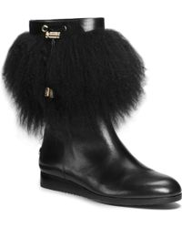 Michael Kors Lizzie Fur-Trimmed Leather Boot - Lyst