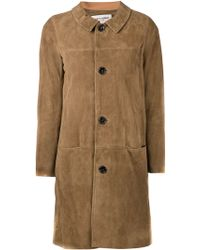 Saint Laurent Brown Long Coat - Lyst