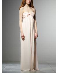 Patrizia Pepe Bustier Long Dress in Silk Chiffon - Lyst