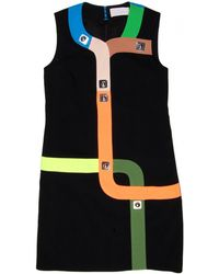 Peter Pilotto | Track Mini Dress In Neon Black | Lyst
