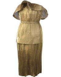 Lanvin Gold Metallic Dress - Lyst