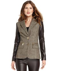 Michael Kors Faux-leather-sleeve Colorblock Blazer - Lyst