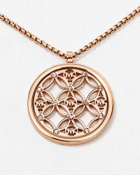 "Michael Kors Open Monogram Pendant Necklace, 16"" - Lyst"