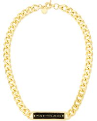 Marc By Marc Jacobs - Chunky Enamel Id Necklace Blackgolden - Lyst