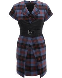McQ by Alexander McQueen Paddington Tartan Front Pleat Dress - Lyst