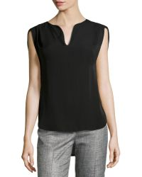 Halston Heritage Slit Capsleeve Pleated Top - Lyst