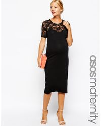 Asos Maternity Exclusive Body-Conscious Dress With Lace Inserts - Lyst