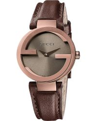 Gucci Interlockingg Collection Brown Pvd Watch - Lyst