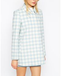 Asos Dolly Coat In Summer Check - Lyst