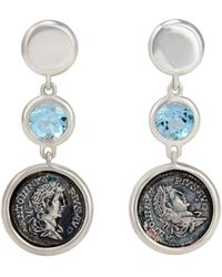 "1884 Jewelry | 1884 - ""legacy Vivace\"" Sterling Silver Earrings W/ 1 Medium Pius Coin And Blue Topaz Stone, 3.50 Cts 