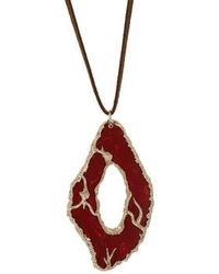 Topshop Agate Pendant Neclakce red - Lyst