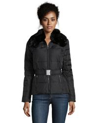 DKNY Black Quilted 'Adrianna' Belted Down Short Coat - Lyst