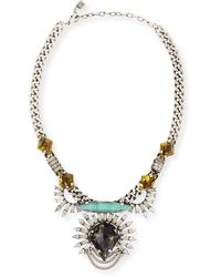 Dannijo Arley Silver Necklace with Crystals - Lyst