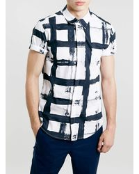 Topman White and Black Check Shirt - Lyst