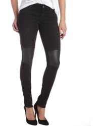 Textile Elizabeth and James | Dark Wash Stretch Denim 'tommy' Leather Detail Skinny Jeans | Lyst