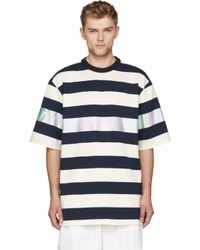 Juun.J Navy And White Metallic Stripe Oversize T_Shirt - Lyst