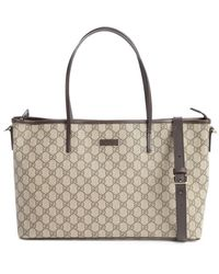 Gucci Beige And Cocoa Canvas Convertible Tote Bag - Lyst