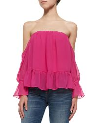 T-bags Off-the-shoulder Top W Ruffle Hem - Lyst