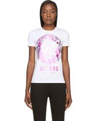 Versus  White and Purple Metallic Lion Logo T_shirt - Lyst