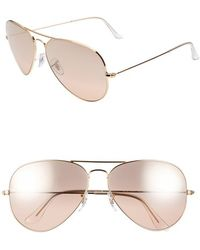 Ray-Ban Women'S 'Large Original Aviator' 62Mm Sunglasses - Pink Flash - Lyst