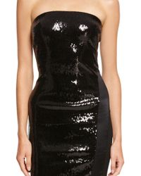 Donna Karan New York Strapless Sequin Dress With Satin Inserts And Structured Jersey - Lyst
