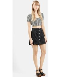 Topshop Stripe Rib Knit Crop Top black - Lyst