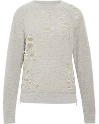 R13 Distressed Side-zip Sweatshirt - Lyst