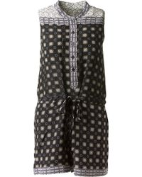 Sea Printed Silk Playsuit - Lyst
