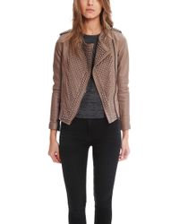 Nour Hammour Erin Taupe Studded Leather Jacket - Lyst