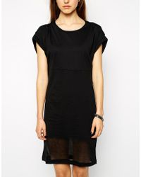 Y.A.S Short Sleeve Dress With Burnout Panel - Lyst