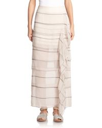 Brunello Cucinelli Tiered-Stripe Silk Maxi Skirt - Lyst