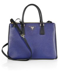 Prada Saffiano Lux Two-Tone Double-Zip Leather Tote - Lyst