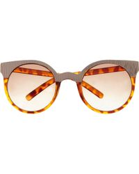 River Island Brown Tortoise Shell Metal Trim Sunglasses - Lyst
