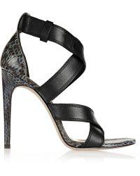 Alexander Wang Linda Leather And Elaphe Sandals - Lyst